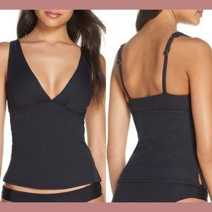 NEW Becca Fine Line Ribbed Tankini Bikini Top Larg